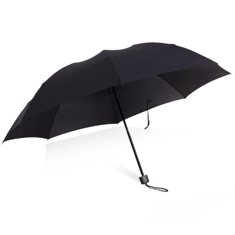 【D70】折りたたみ傘 大きい 晴雨兼用 撥水加工 UVカット 耐強風 超軽量 300g 収納ポーチ付き 8本骨 (ブラック)